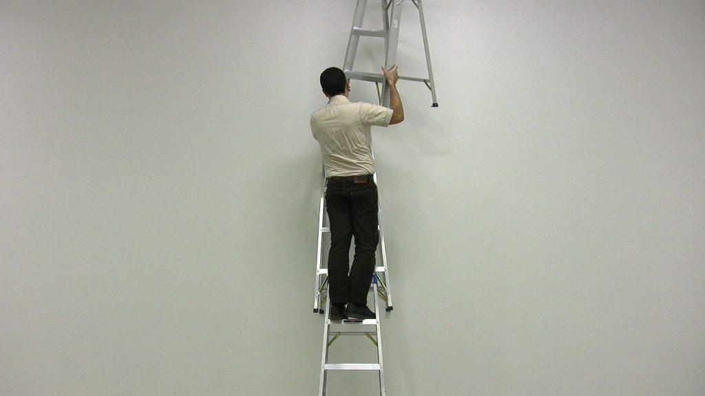 A still image from Jon Sasaki's Ladder Stack (2009).